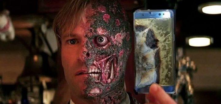 Meme karakter Two Face dan ponsel Samsung Galaxy Note 7 yang meledak. Sejumlah pengguna yang terlanjur membeli mengungkapkan kekesalannya lewat media sosial. Boredpanda.com